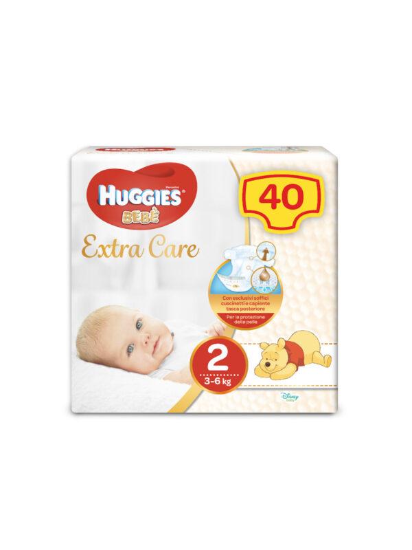 Huggies EXTRA CARE BEBÈ – Pannolini Taglia 2 (3-6 Kg) – Confezione da 40 pz - Taglia 2 (3-6 kg)