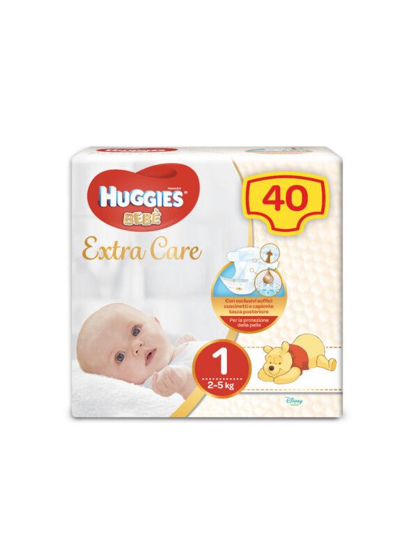 Huggies EXTRA CARE BEBÈ – Pannolini Taglia 1 (2-5 Kg) – Confezione da 40 pz - Taglia 1 (2-5 kg)
