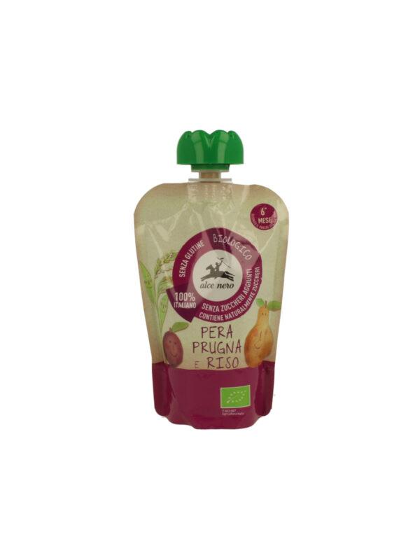 Purea pera prugna riso in doypack Alce Nero Baby Food 100g - Alce Nero - Merende da bere