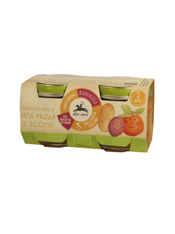 Omogeneizzato mela prugna biscotto Baby Food Bio Alce Nero 80g*2 - Alce Nero - Omogeneizzato frutta