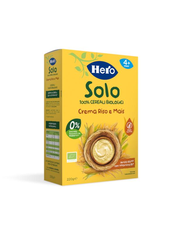 Cremina di Riso e Mais 220 g - Hero Solo - Creme e Pappe Lattee