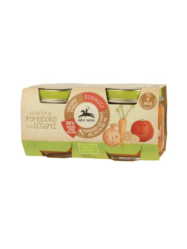 Sugo di pomodoro con legumi Baby Food Bio Alce Nero 80g*2 - Alce Nero - Riso e sughi per bambini