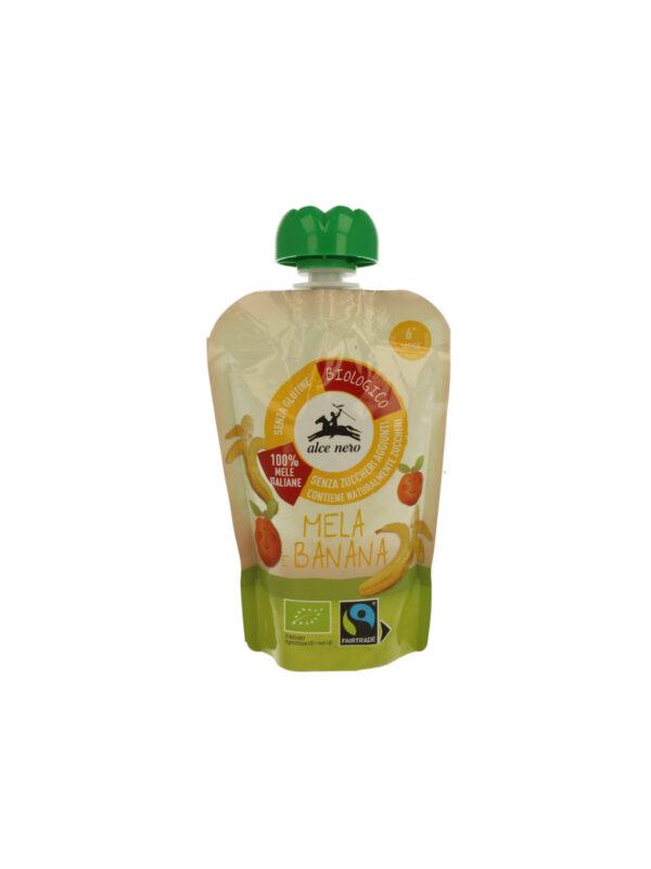 Purea di mela e banana in doypack Bio Alce Nero Baby Food Fairtrade 100g - Alce Nero - Frutta frullata