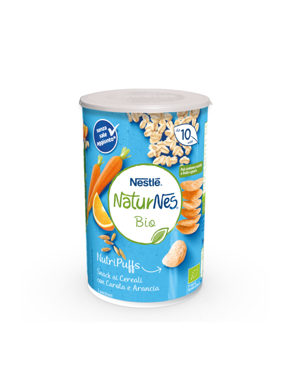 NATURNES - Nutripuffs cereali carota arancia 35 gr - NATURNES BIO - Snack per bambini