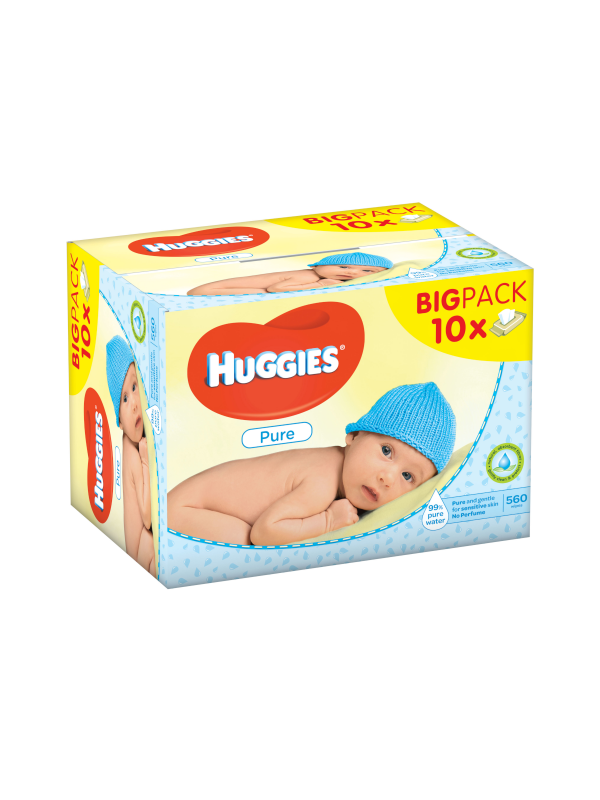 Huggies salviettine pure 10x56 pz - Cura e cosmesi bambino