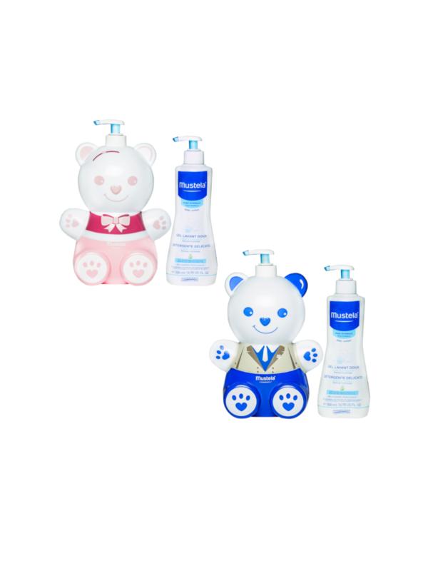 Mustela Copriflacone +detergente 500 ml rosa o blu <strong> colori assortiti </strong> - Cura e cosmesi bambino