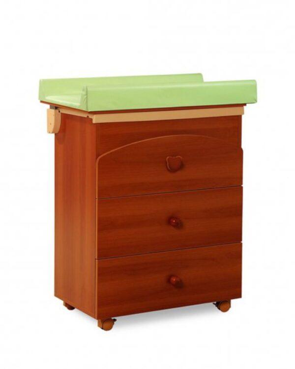 Cassettiera e bagnetto Nora color noce con Mangiapannolini Maialino - Mobili