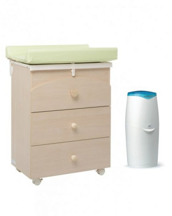 Cassettiera e bagnetto Nora color naturale con Mangiapannolini Maialino - Mobili