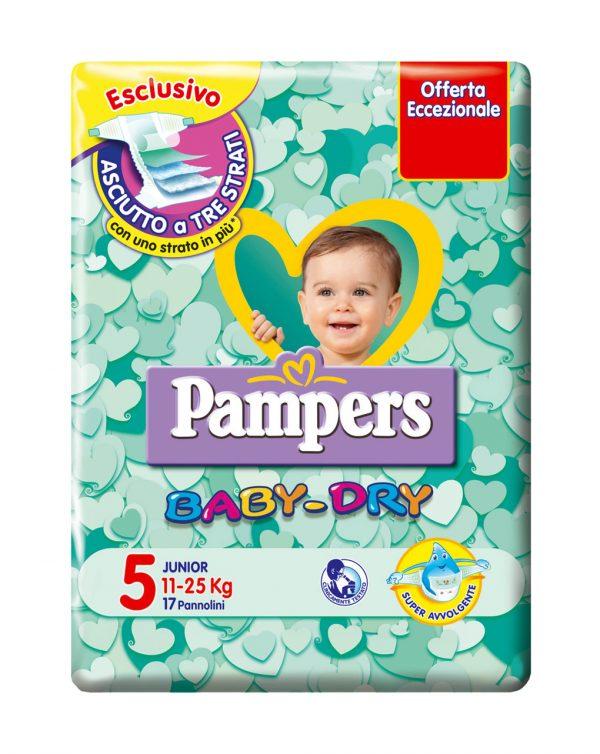 Pampers baby-dry junior (11-25 kg) - Taglia 5 (11-25 kg)
