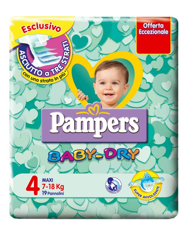 Pampers baby-dry maxi (7-18 kg) - Taglia 4 (7-18 kg)