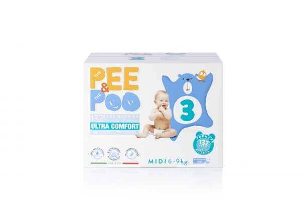 Pee&Poo Jumbo Midi Taglia 3 - 132 pz - PEE&POO - Taglia 3 (4-9 kg)