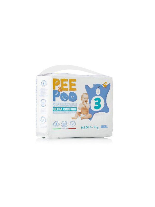 Pee&Poo Midi Taglia 3 - 45 pz - PEE&POO - Taglia 3 (4-9 kg)
