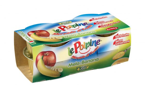 POLPA DI MELA BANANA BIO 4X100GR - Le Polpine - Frutta frullata