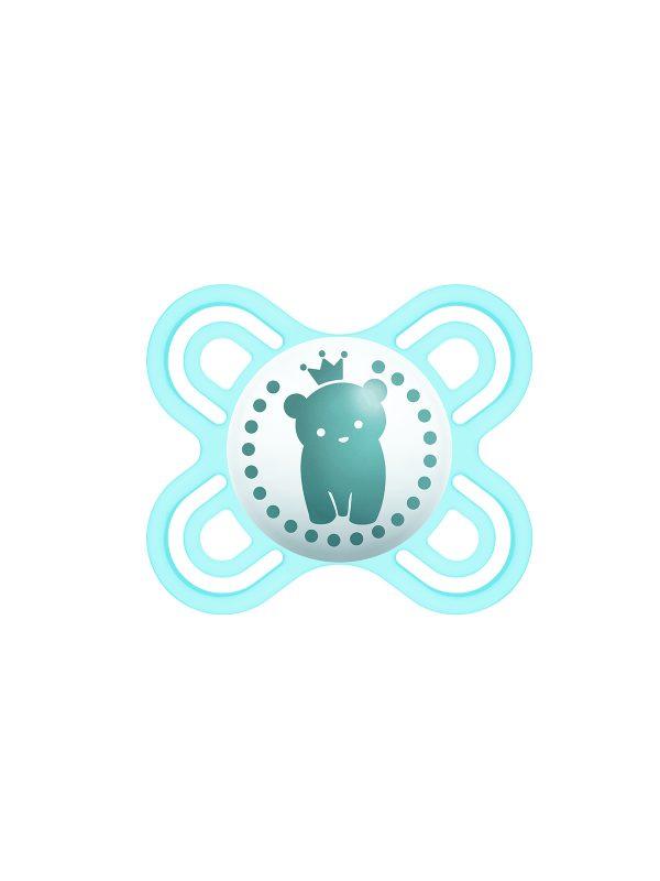 MAM Perfect Start Ciuccio in silicone, con custodia porta ciuccio, 0-2 mesi, azzurro - Ciucci
