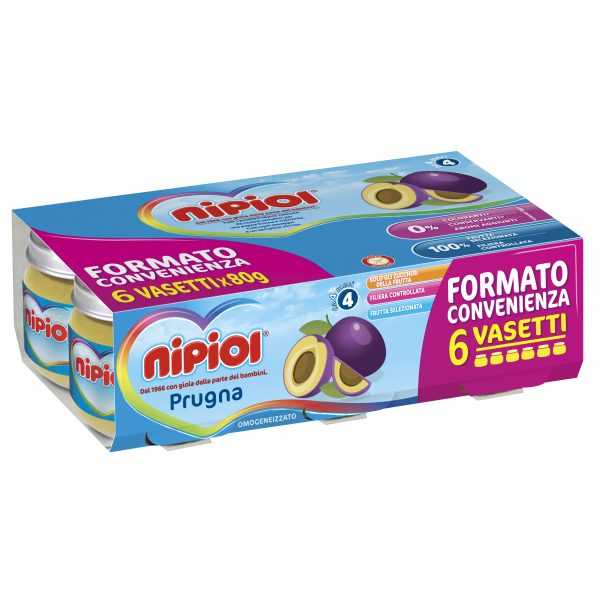 NIPIOL - OMO PRUGNA 6X80 GR. - Nipiol - Omogeneizzato frutta
