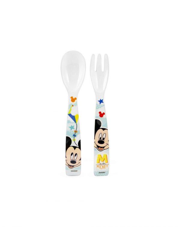 Disney - Cucchiaio e forchetta in melamina Mickey Simply - LULABI - Piatti e Set Pappa