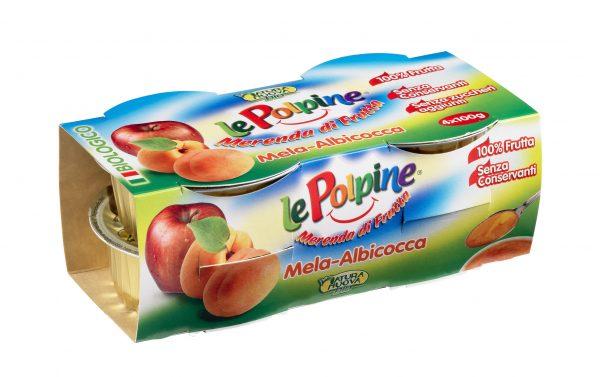 POLPA DI MELA ALBICOCCA BIO 4X100GR - Le Polpine - Frutta frullata