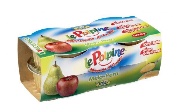 POLPA DI MELA PERA BIO 4X100GR - Le Polpine - Frutta frullata
