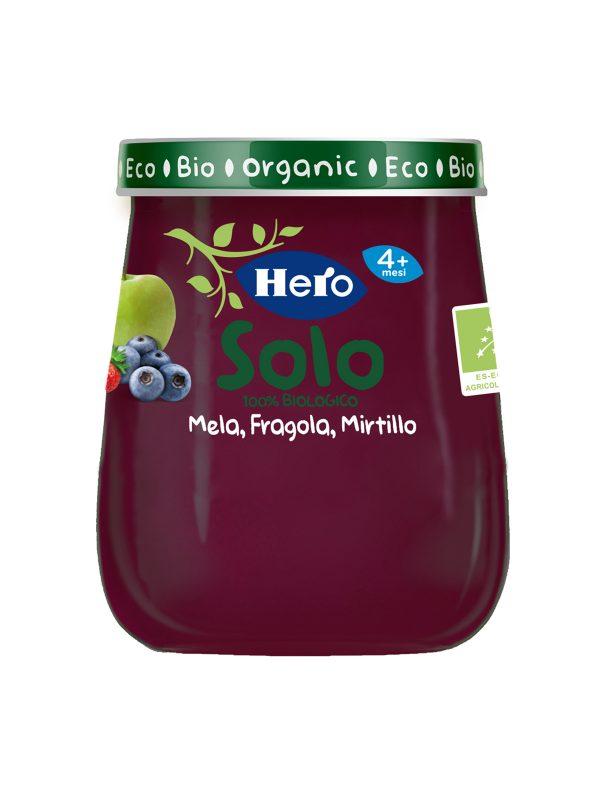 HERO SOLO OMO MELA FRAGOLA MIRTILLO 120G - Hero Solo - Omogeneizzato frutta