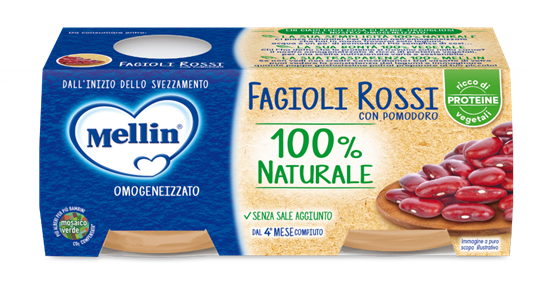 MELLIN OMOGENEIZZATO FAGIOLI ROSSI 2X80GR - MELLIN - Omogeneizzato verdure