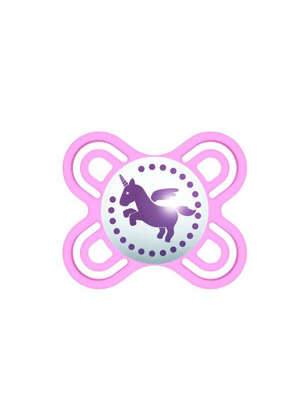 MAM Perfect Start Ciuccio in silicone, con custodia porta ciuccio, 0-2 mesi, rosa - Ciucci