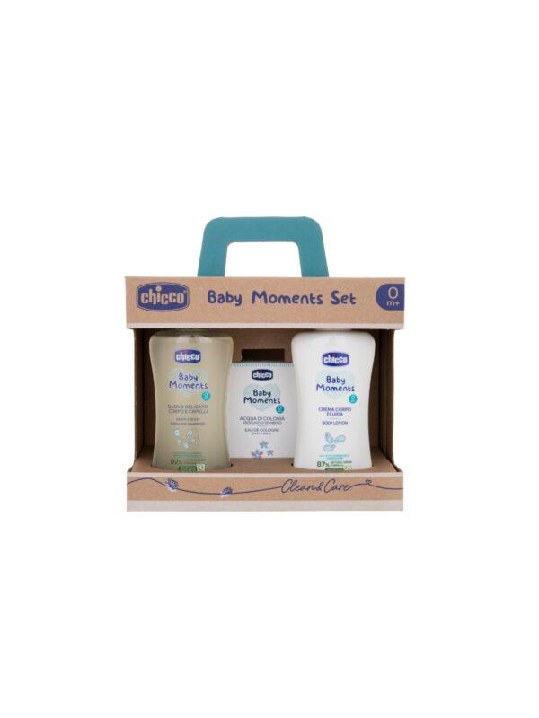 Baby Moments Set 3 Bagno corpo/capelli, Crema corpo e Colonia - CHICCO - Detergenti e creme