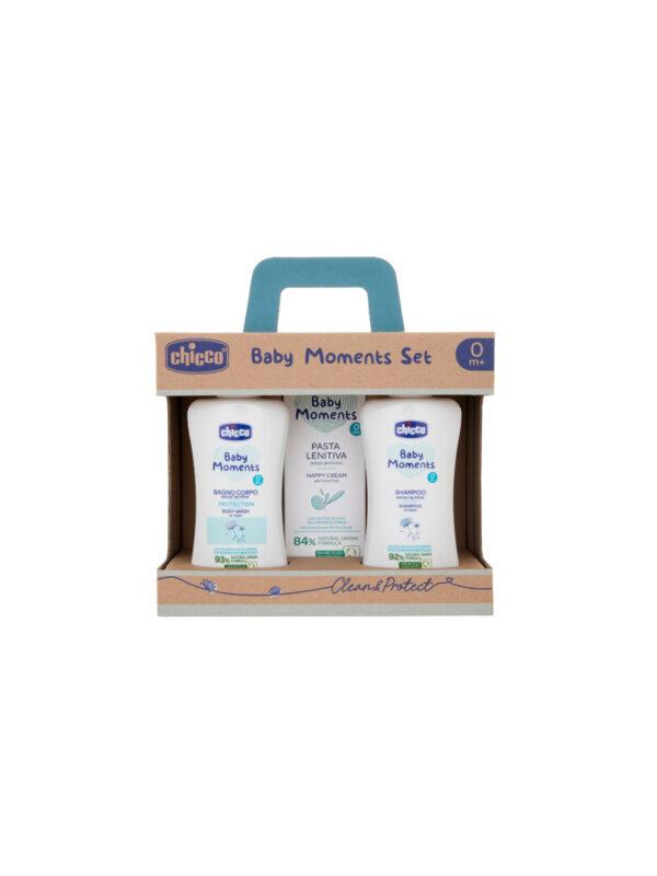 Baby Moments Set 2 Bagno corpo, Shampoo, Pasta Lenitiva - CHICCO - Detergenti e creme
