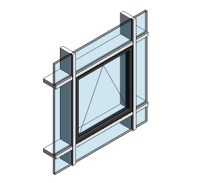 AluK 58BW ST Open Out Window (Curtain Wall Insert)