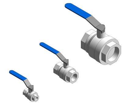 Revit, Bim, Store, Components, MEP, Object, Altecnic, Mechanical, Pipe, Intaball, Lever, Ball Valve, blue, Handle, Hot, Water, bsp