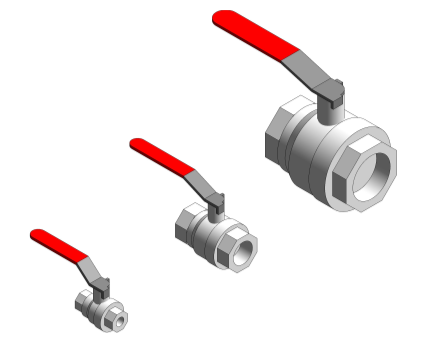 Revit, Bim, Store, Components, MEP, Object, Altecnic, Mechanical, Pipe, Intaball, Lever, Ball Valve, Red, Handle, Hot, Water, bsp