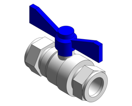 Revit, Bim, Store, Components, MEP, Object, Altecnic, Mechanical, Pipe, Intaball, Lever, Ball Valve, blue, Handle, Hot, Water, compression, high flow, rate, pressure, drop