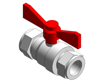 Revit, Bim, Store, Components, MEP, Object, Altecnic, Mechanical, Pipe, Intaball, Lever, Ball, Valve, red, Handle, Hot, Water, compression, high, flow, rate, pressure, drop