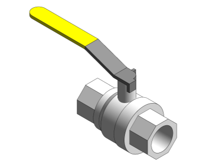 Revit, Bim, Store, Components, MEP, Object, Altecnic, Mechanical, Pipe, Intaball, Lever, Ball , Valve, blue, Handle, Hot, Water, bsp, yellow, gas, threaded