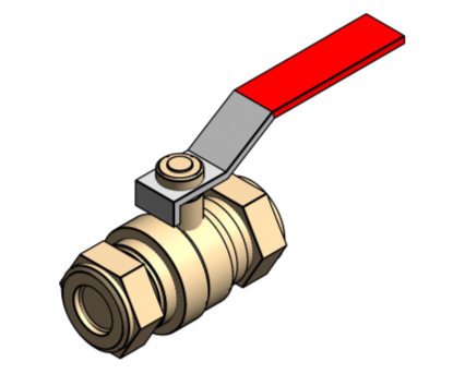Revit, Bim, Store, Components, MEP, Object, Altecnic, Mechanical, Pipe, Intaball, Lever, Ball Valve, Red, Handle, Hot, Water