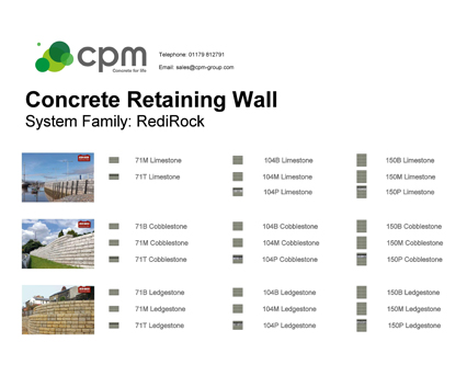 Revit, Bim, Store, Components, Object, Family, Drainage, CPM, Group, Ltd, Redi, Rock, Modular, Retaining, Wall, Series, Cobblestone, Ledgestone, Limestone, Precast, Concrete
