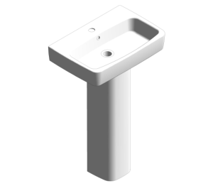 E100 Square 550 Washbasin With Pedestal