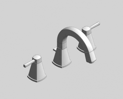 Revit, Bim, Store, Components, MEP, Object, Grohe, Plumbing, Fixtures, 14, METRIC, Grandera, Three, Hole, Basin, Mixer, S, Size, 20417000