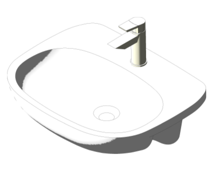 Bim, Content, Object, Component, BIM, Store, Revit, Ideal, Standard, Basins, Water, Bathroom, Tesi, 55cm, Semi, Countertop, Washbasin, T3526