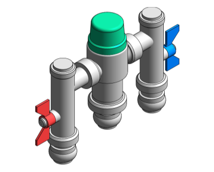 Sharkbite, Revit, Bim, Store, Components, MEP, Object, Reliance, Water, Controls, RWC, Mechanical, Pipe, Ausimix, Compact, Thermostatic, Mixing, Valve, SBHEAT110780, SBHEAT110785