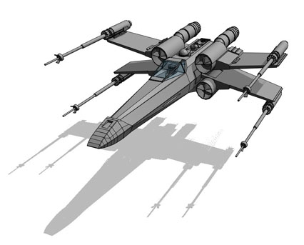 Revit, BIM, Download, Free,Components,Object,star,wars,x,wing,t65,star,fighter
