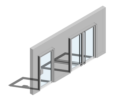 Revit, BIM, Store, Components, Architecture,Object,Free,Download,Kawneer,curtain,wall,system,190,door,doors,single,double,entrance,heavy,traffic,narrow,style,double,acting,swing,451PT,frame,finger,guard,FG