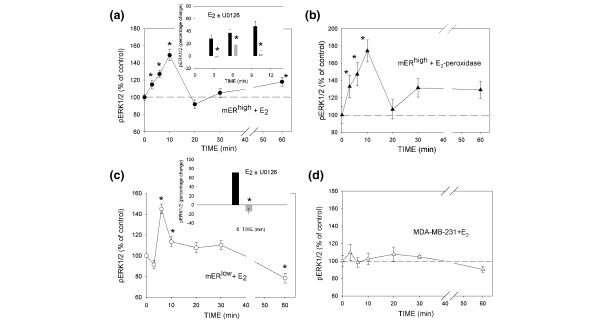 Time course of extracellular signal-regulated kinase (ERK)1/2 activation with 17β-estradiol (E 2 ) and impeded ligand in membrane estrogen receptor (mER)-α-enriched (mER high ) and mER-α-depleted (mER low ) MCF-7 cells, and receptor-less cells. After 72 hours in medium with dextran-coated charcoal-stripped serum (DCSS), cells were treated with 1 pmol/l E 2 , or an equivalent concentration of hormone contained in an E 2 -peroxidase conjugate, for different time intervals. (a, b) mER high MCF-7 cells treated with E 2 and E 2 -peroxidase, respectively. (c) mER low MCF-7 cells treated with E 2 . (d) Estrogen receptor-α-negative MDA-MB-231 cells treated with E 2 . Each experiment was repeated at least three times, each time point represents 16 replicate wells, and the values are expressed as mean ± standard error. Insets: inhibition of ERK1/2 activation with U0126 upstream mitogen-activated protein kinase kinase (MEK)1/2 inhibitor. The cells were pretreated for 15 min with 40 μmol/l inhibitor (gray bars) and E 2 -induced activation of ERK1/2 was tested at activation times appropriate for each cell type (after 3, 6 and 10 min in the case of mER high or 6 min in the case of mER low cells). The asterisks indicate the significant reduction in ERK1/2 activation compared with cells treated only with E 2 (black bars).