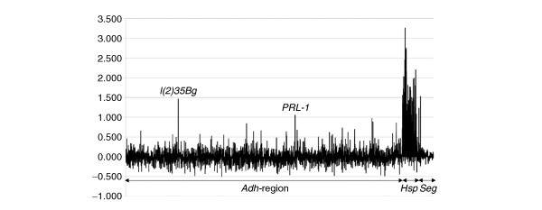 Distribution of fragment enrichment with anti-Hsf immunopurified chromatin on the genomic tiling array. The y -axis plots the asinh transformation (approximately equivalent to the log 2 scale) of the ratio of anti-Hsf versus preimmune sera. The x -axis represents each of the 3,444 PCR products, the Adh region, Hsp gene and segmentation gene ( Seg ) sequences are indicated below the x -axis. Strong enrichment of fragments from the Hsp genes is indicated by their high ratio. The signals from l(2)35Bg and PRL-1 in the Adh region are indicated.
