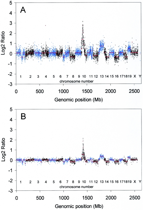 Validation of the mouse oligo array CGH platform. DNA from a mouse tumour was hybridized with normal mouse reference DNA on a 21 K mouse oligo array ( A ). Log2ratios were calculated with a weighted moving average as described ( 11 ) using a window of 250 kb and are displayed as a function of their position in the genome. The same mouse tumour and reference DNA was hybridized in a paired fluor-reversed experiment (dye-swap) to a 1 Mb mouse BAC array ( B ). Log2ratios were calculated as described ( 15 ) and displayed as a function of their position in the genome. Log2ratios of the odd and even chromosomes are shown in aqua blue and black, respectively. Smoothed values of the log2ratios (red).