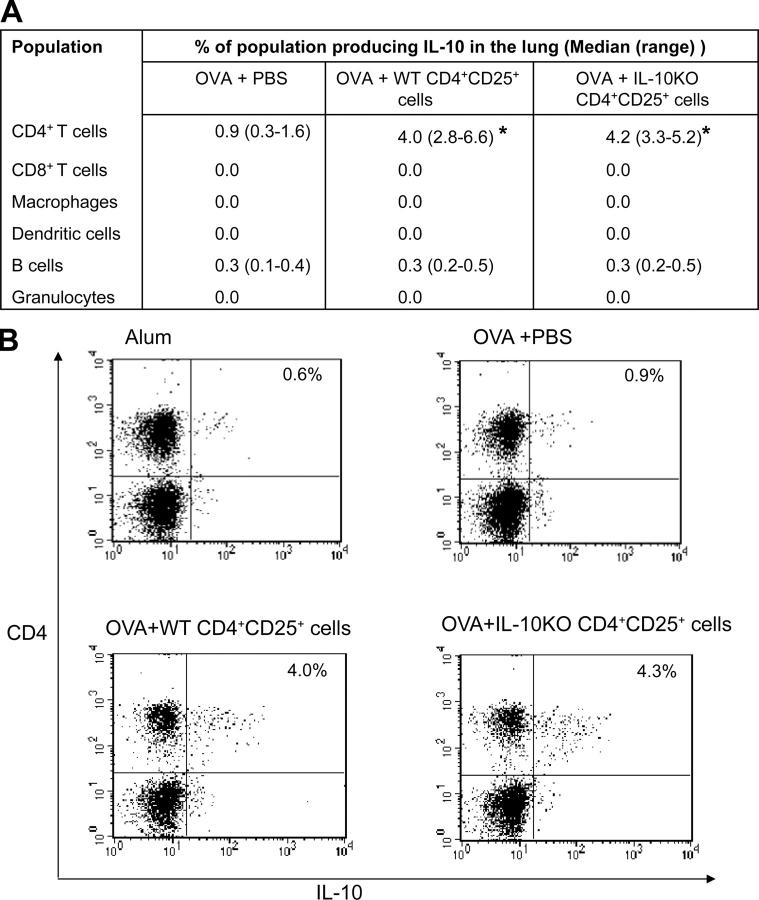 IL-10 is produced by CD4 + T cells during allergen-induced airway inflammation and is increased by transfer of CD4 + CD25 + regulatory T cells. Lungs were digested with collagenase and DNase as described in Materials and methods. Digest cells were stimulated by <t>PMA/Ionomycin</t> in the presence of Brefeldin A for 6 h. Cells were phenotyped by staining for CD4, CD8, CD11b (macrophages), CD11c (dendritic cells), and B220 (B cells). Granulocytes were defined by forward and side scatter. (A) Data are expressed as median cell types producing IL-10 with interquartile range ( n = 6–14 mice/group in three separate experiments). *, P