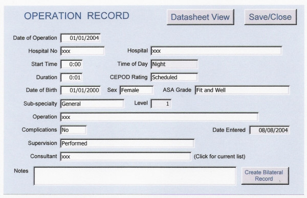 Microsoft Access version of the ASGBI logbook (version 2.4). The various fields for collecting the data are demonstrated.