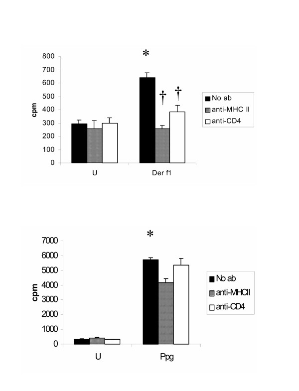 A+B. Lymphocyte proliferation following addition of anti-MHC II or anti-CD4 ab is unchanged in unstimulated CBMC and following stimulation with the innate stimulus Ppg. Following addition of anti-MHC II or anti-CD4 ab, lymphocyte proliferation is decreased after stimulation with the allergen Derf1 (p