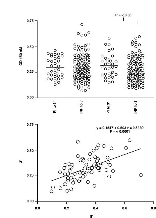 ELISA analysis of the IgG response to recombinant Ov-CHI-1 5' or 3' antigen in human onchocerciasis. Figure 4A : Comparison of the response in the sera of infected (INF) and putatively immune (PI) individuals. Figure 4B : The relationship of response to 5' antigen and 3' antigen for individual sera. The line of liner regression is shown for data sets in which there is a statistically significant correlation between responses to the two antigens (determined by Spearman's Rank Correlation Coefficient).