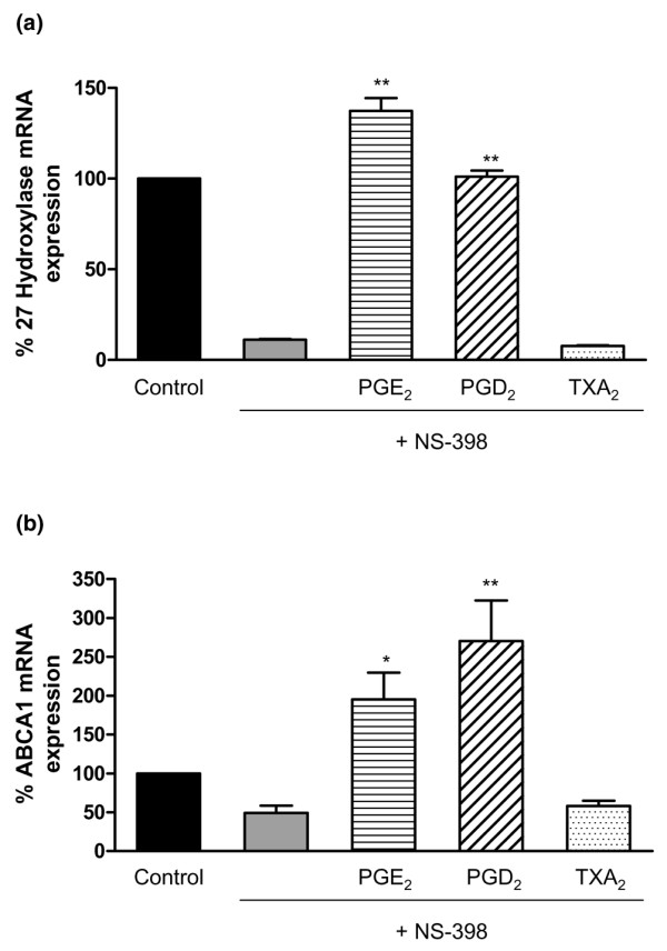 QRT-PCR for 27-hydroxylase and ABCA1 message in NS398-treated THP-1 macrophages exposed to prostaglandins or TXA 2 . (a) 27-Hydroxylase message in THP-1 macrophages is decreased by the COX-2 inhibitor NS398 and this decrease is reversed by prostaglandins E 2 and D 2 , but not TXA 2 . THP-1 human macrophages were exposed to the following conditions represented by the five bars (from left to right): (1) RPMI 1640, (2) NS398 (50 μM), (3) PGE 2 (0.1 μM) + NS398 (50 μM), (4) PGD 2 (14 μM) + NS398 (50 μM), and (5) TXA 2 (3 μM) + NS398 (50 μM) (24-hour exposures to NS398 alone followed by addition of indicated PG or TXA 2 for a further 24 hours). Cells were extracted for total RNA and were evaluated for 27-hydroxylase mRNA expression by QRT-PCR. Signals obtained from the amplification of GAPDH message were used as internal controls. (b) ABCA1 message is decreased by the COX-2 inhibitor NS398 in THP-1 macrophages and this decrease is reversed by prostaglandins E 2 and D 2 , but not TXA 2 . THP-1 human macrophages were exposed to the following conditions represented by the five bars (from left to right): (1) RPMI 1640, (2) NS398 (50 μM), (3) PGE 2 (0.1 μM) + NS398 (50 μM), (4) PGD 2 (14 μM) + NS398 (50 μM), and (5) TXA 2 (3 μM) + NS398 (50 μM) (24-hour exposures to NS398 alone followed by addition of indicated PG or TXA 2 for a further 24 hours). Cells were extracted for total RNA and were evaluated for ABCA1 mRNA expression by QRT-PCR. Signals obtained from the amplification of GAPDH message were used as internal controls. * p