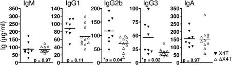 Ig production is impaired in conditional X4 KO mice. Sera from ΔX4T and control X4T mice were collected and total IgM, IgG1, IgG2b, IgG3, and IgA were determined by ELISA (microgram/milliliter). The results of statistical tests are indicated; * indicates a statistically significant difference (P